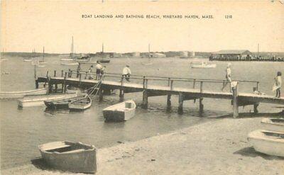 Bathing Beach Vineyard Haven Massachusetts Boat Landing Postcard 13444 Boats