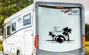 RV MOTORHOME CAMPER CARAVAN,  LIFE'S A BEACH, VINYL GRAPHICS STICKERS DECAL