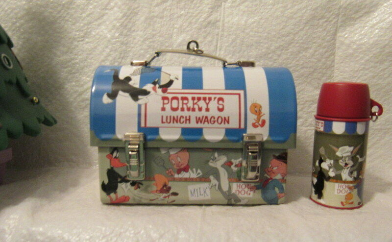 Hallmark 2 Ornaments 2004 Lunch WagonPorky Pig Looney Tunes Lunchbox Thermos