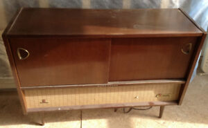 Retro Stereo Cabinet Complete with Original Radio and Turntable