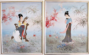 = = = PAIR OF FRAMED SIGNED ORIGINAL ASIAN PAINTINGS ON CANVAS