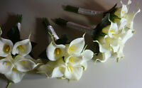 White Bridesmaids Calla Lily Wedding Bouquet Of Flowers. Total 4