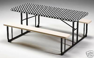 12 BLACK & WHITE CHECK 8 FT  FITTED PLASTIC TABLECLOTHS TABLE COVERS NASCAR!](8 Ft Plastic Table)