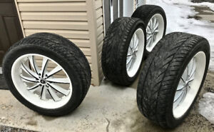 "Mags wheels roues + Tires pneus. 305/45R/22 . 22""  Bolt 6x139.7"