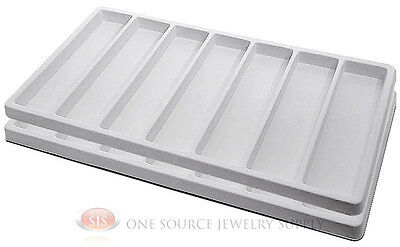 2 White Insert Tray Liners With 7 Slot Each Drawer Organize Jewelry Displays