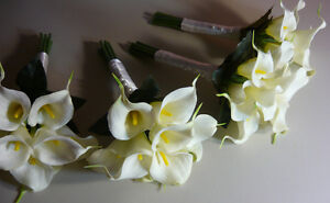 4 Small Bridesmaids Calla Lily Wedding Bouquet Of Flowers. London Ontario image 1