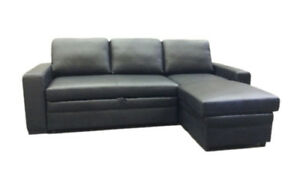 Genuine Leather Sectional L Shape Sofa Bed with storage Chaise