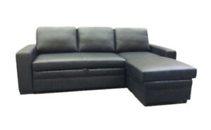 QUALITY REAL LEATHER SOFA BED,REVERSIBLE STORAGE CHAISE