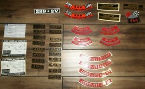 OEM TYPE AIR CLEANER & VALVE COVER DECALS GM & FORD