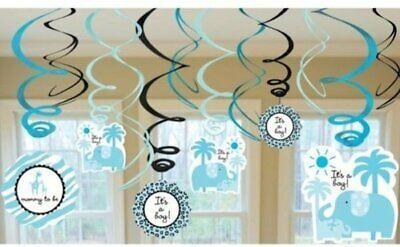 It's a Boy Baby Shower Decorations - Blue Swirls-Jungle Theme Decorations - Jungle Themed Baby Shower Decorations