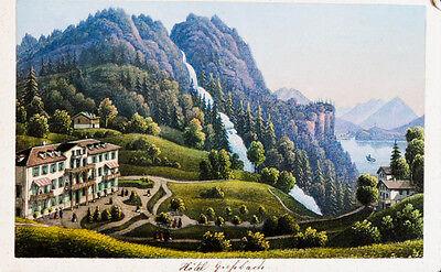 1870 Schweiz Berner Oberland Giessbach kolorierte Aquatina-Ansicht
