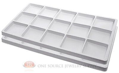 2 White Insert Tray Liners W/ 15 Compartments Drawer Organizer Jewelry Displays