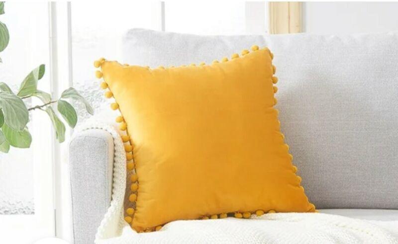 Topfinel Square Velvet Pillow Covers (2) Yellow - Brand New 25 x 25 Inches