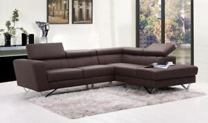 Real Leather Brown Sectional   Living Room Sale (SK07)