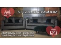 NEW Grey Velvet 3 and 2 Seater Sofas, Can Deliver