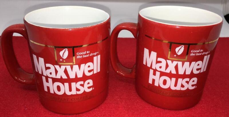 PAIR VINTAGE MAXWELL HOUSE COFFEE CUP MUG RED GOLD TRIM KILN CRAFT
