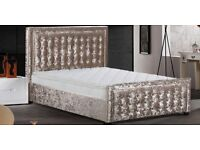 Order Today Deliver Today Crushed Velvet Top Quality King Size Bed Frame Delivery to all areas