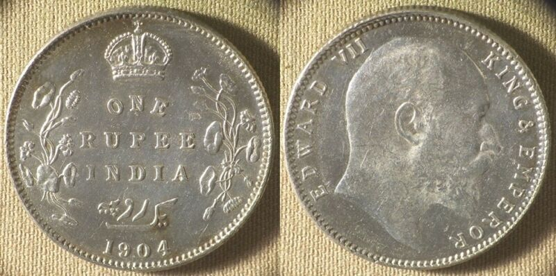 India : British 1904(c)  1 Rupee CH.AU-UNC Tone Spots Obv   #508   IR8319