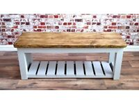 Rustic Benches Kitchen Dining Bench Pew Reclaimed Wood Shoe Storage Hall Country Chic