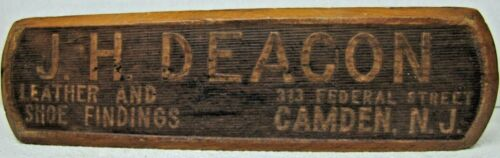 J H DEACON LEATHER & SHOE CAMDEN NEW JERSEY Antique Advertising Sign Shine Brush