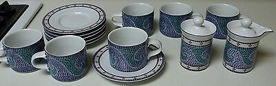 Dansk Mosiac Wave Stoneware Set 16 Pieces  6 Cups & Saucers Creamer Sugar W Lids