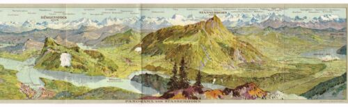 TRAVEL BROCHURE C1906 SWISS SWITZERLAND MOUNTAINEERING PICTORIAL MAP CHROMO