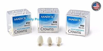 Mark3 Dental Temporary Polycarbonate Crowns All Sizes Box5