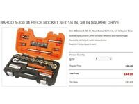 BAHCO S-330 34 PIECE SOCKET SET 1/4 IN, 3/8 IN SQUARE DRIVE