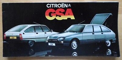 CITROEN GSA range 1979 1980 UK Market sales brochure