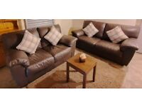 DFS Brown chunky leather 3 seater and 2 seater sofas nice and comfy