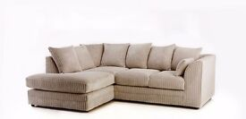EXPRESS DELIVERY ALL UK | DYLAN JUMBO CORD MINK CORNER SOFA | 1 YEAR WARRANTY | 10 DIFFERENT COLOR