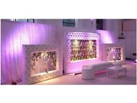 Wedding Stage FOR SALE - BRAND NEW - Leather backdrop ornate crystal flower background asian white