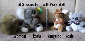 Australian animal cuddley toys - £2 each - all for £6 - good condition