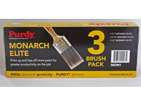 """Purdy Monarch Elite Paint Brush Set - 3 Brushes 1"""",1.5"""", 2"""" collect london sw18"""