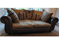 3 + 2 Seater Leather & Fabric Chesterfield style Sofas