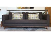 Dwell Elegant Three Seater Sofa in Grey + cushions and blanket