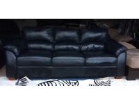 Can Deliver- Modern Black Leather 3 Seater Sofa