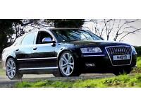 Audi S8 5.2 V10 Phantom black Miltek exhaust. M6 M5 Lamborghini C63 E63 Rs4 E55 Rs6 V12 V8