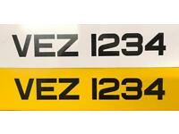 VEZ 1234 vehicle registration plate