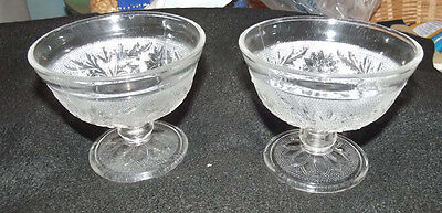 Sandwich crystal by Hocking 2 footed sherbets