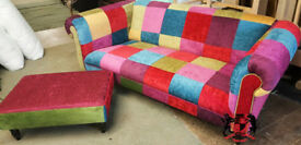 A Daring World Exclusive Multi Colour 3 Seat Chesterfield Patchwork Sofa & Stool