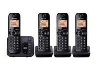 Panasonic KX-TGC224EB Digital Cordless Phone with LCD Display - Black- 4 handsets