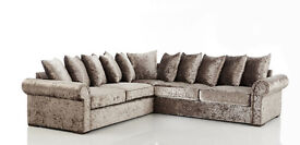 LIVERPOOL GLB VELVET GOLD CORNER SOFA | EXPRESS DELIVERY ALL UK | 1 YEAR WARRANTY | FOAM CUSSHION