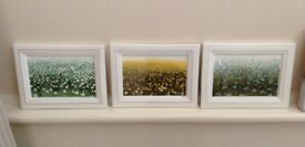 Villeroy & Boch bone china set of 3 wall pictures / plaques of meadow scenes