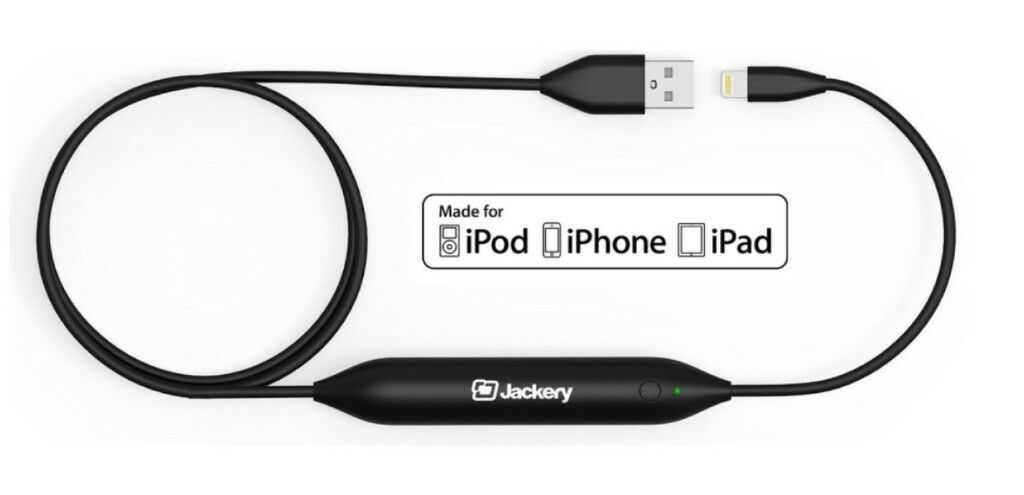 Jackery Jewel,2-in-1 Apple MFI Lightning Power Cable with Built-In Compact External Portable Charger