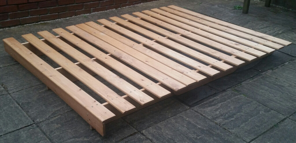 King Size Low Level Bed Frame Pine Wood 203cm X 152 5cm 80 X 60