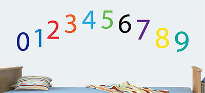 Childrens Colourful Numbers - Pack of 10 Wall Art Stickers Learning Decal Mural - Number Kids Wallpaper Murals