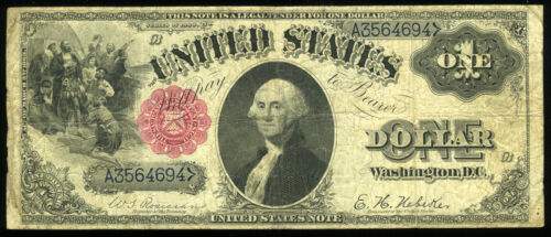 $1 1880 United States Note BLUE SERIAL NUMBERS Red Seal FR#34 Rosecrans-Nebeker