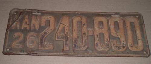 1926 Kansas License Plate KAN 240-890 Car Tag