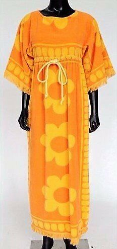 VINTAGE 1970 Psychedelic Flower Power Orange Yellow Terry Towel Long Beach  Dress 100% Cotton Fring 55acd38d1